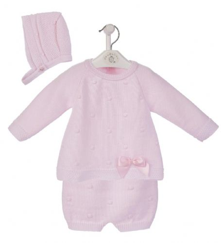 New Arrival Gorgeous Baby Girl Pink Knitted 3 Piece Outfit with Bonnet Satin Bow